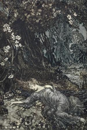 Titania Lying Asleep, Illustration from 'Midsummer Nights Dream' by William Shakespeare, 1908-Arthur Rackham-Stretched Canvas Print