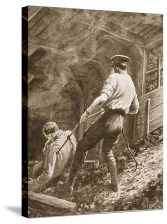 Lance-Corporal Clapson Dragging an Officer, Who Had Been Gassed, Out of a Mine (Litho)-Alfred Pearse-Stretched Canvas Print