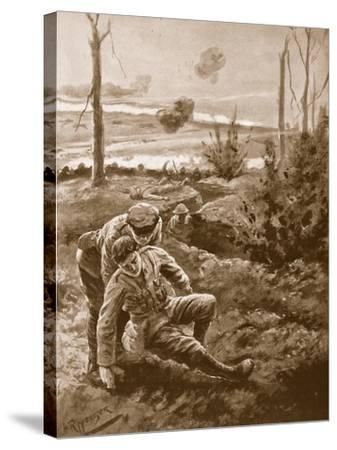 The Rev. W.R.F. Addison Carries a Wounded Man to the Cover of a Trench-H. Ripperger-Stretched Canvas Print