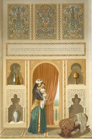 Cairo: Interior of the Domestic House of Sidi Youssef Adami: a Woman Standing in a Room-Emile Prisse d'Avennes-Stretched Canvas Print