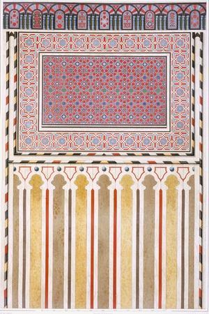 Cairo: Decoration of the El Bordeyny Mosque: Geometric Patterns of the Mosaic of the Mihrab-Emile Prisse d'Avennes-Stretched Canvas Print