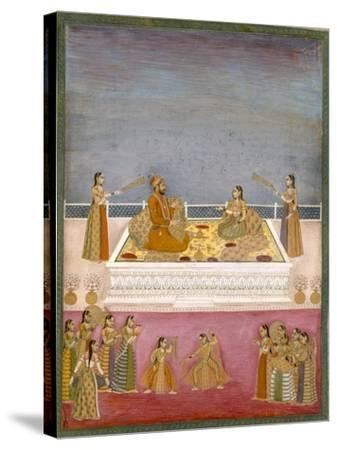 The Young Mughal Emperor Muhammad Shah at a Nautch Performance (1719-48), C.1725-Mughal-Stretched Canvas Print