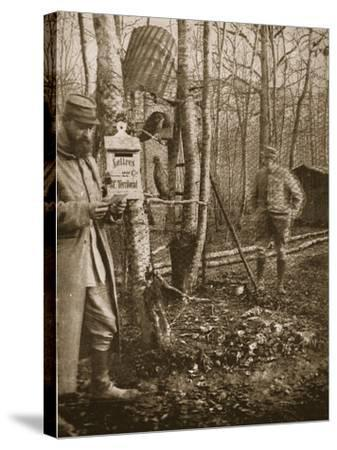 On the French Lorraine Front: a Poilu's Camp Letter-Box and Buzzard Mascots-English Photographer-Stretched Canvas Print
