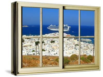 View from the Window at Mykonos Island 1-Anna Siena-Stretched Canvas Print