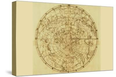 Celestial Map of the Mythological Heavens with Zodiacal Characters-Sir John Flamsteed-Stretched Canvas Print
