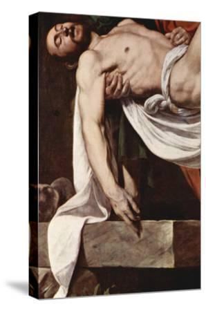 Putting Christ in the Tomb-Caravaggio-Stretched Canvas Print