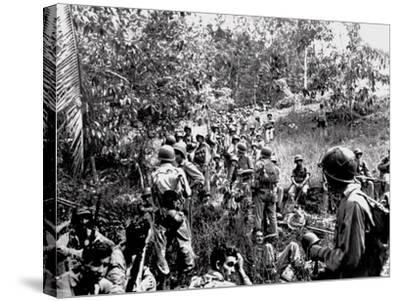 WWII Guadalcanal U.S. Marines--Stretched Canvas Print