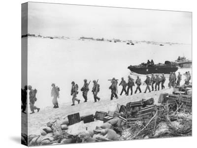 WWII U.S. Troops Invade Saipan--Stretched Canvas Print