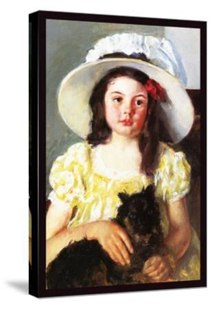 Francoise with a Black Dog-Mary Cassatt-Stretched Canvas Print