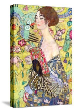 Lady with a Fan-Gustav Klimt-Stretched Canvas Print