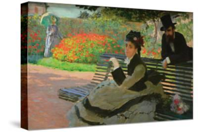 Camille Monet on a Garden Bench-Claude Monet-Stretched Canvas Print