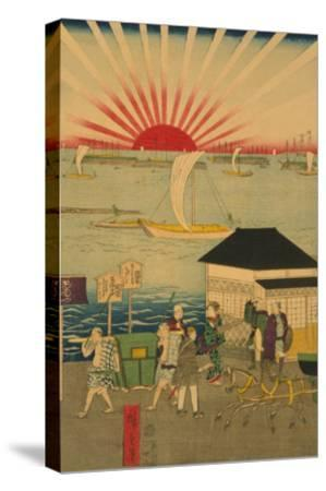 Famous Places in Tokyo: Real View of Takanawa No.2 Featuring the Rising Sun-Ando Hiroshige-Stretched Canvas Print