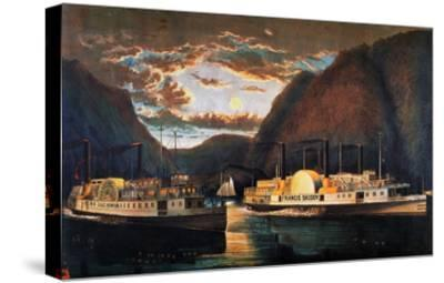 Night on the Hudson, 1864-Currier & Ives-Stretched Canvas Print