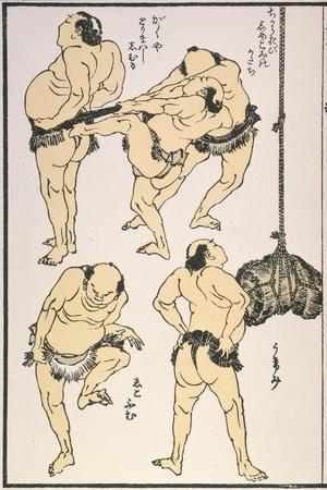 Sumo Wrestlers, 1817-Katsushika Hokusai-Stretched Canvas Print