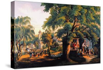 The Village Blacksmith-Currier & Ives-Stretched Canvas Print