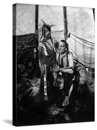 Blackfoot Man and Boy, c1914--Stretched Canvas Print