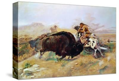 Russell: Buffalo Hunt-Charles Marion Russell-Stretched Canvas Print