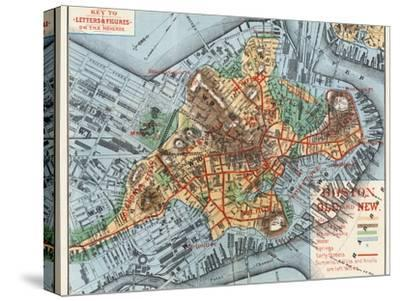 Map: Boston, c1880-Justin Winsor-Stretched Canvas Print