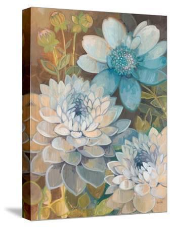 Pretty Blue Dahlias 2-Vera Hills-Stretched Canvas Print