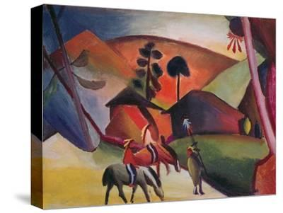 Native Americans on Horses, 1911-Auguste Macke-Stretched Canvas Print