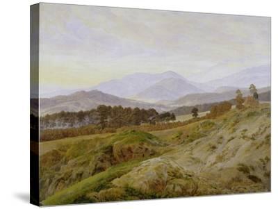 Landscape in the Riesengebirge (Bohemian Landscape), about 1835, Unfinished-Caspar David Friedrich-Stretched Canvas Print