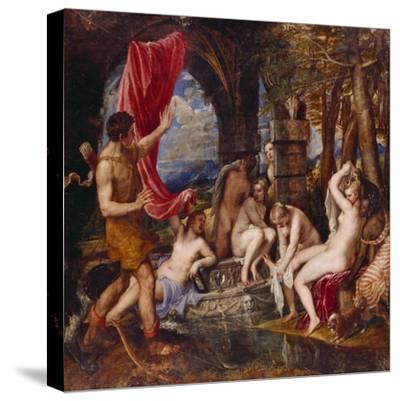 Diana and Aktaeon- Tizian Tiziano Vecellio-Stretched Canvas Print
