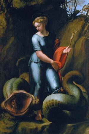 St. Margaret, about 1518-Raphael-Stretched Canvas Print