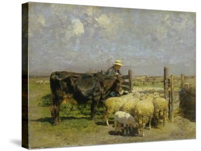 Im Schafspferch-Heinrich von Zügel-Stretched Canvas Print