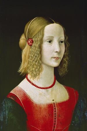 Portrait of a Young Girl. Probably About 1490-Domenico Ghirlandaio-Stretched Canvas Print