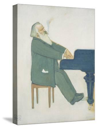 Johannes Brahms at the Piano-Willy von Beckerath-Stretched Canvas Print