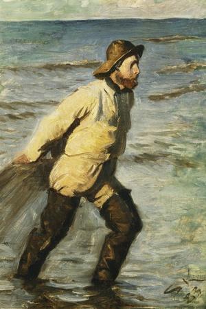 Daenischer Fischer Beim Einbringen Des Netzes-Peder Severin Kr?yer-Stretched Canvas Print
