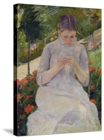 Young Woman Sewing in the Garden, ca. 1880/82-Mary Cassatt-Stretched Canvas Print