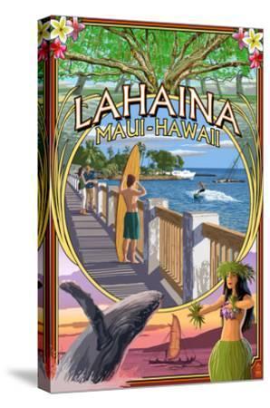 Lahaina, Maui, Hawaii - Town Scenes Montage-Lantern Press-Stretched Canvas Print