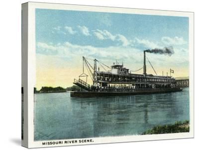 Kansas City, Missouri - View of a Steamer on the Missouri River-Lantern Press-Stretched Canvas Print