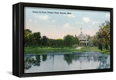 Detroit, Michigan - Palmer Park, View of the Casino and the Pond-Lantern Press-Framed Stretched Canvas Print