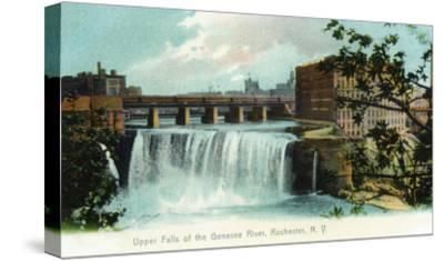 Rochester, New York - Upper Falls of the Genesee River-Lantern Press-Stretched Canvas Print