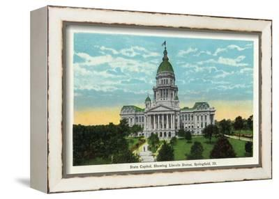Springfield, Illinois - Capitol Building and Lincoln Statue-Lantern Press-Framed Stretched Canvas Print