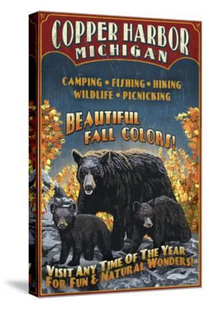 Copper Harbor, Michigan - Black Bears-Lantern Press-Stretched Canvas Print