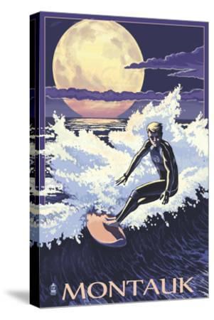 Montauk, New York - Night Surfer-Lantern Press-Stretched Canvas Print