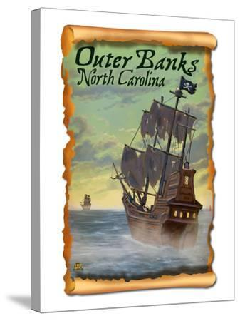 Pirate Ship - Outer Banks, North Carolina-Lantern Press-Stretched Canvas Print