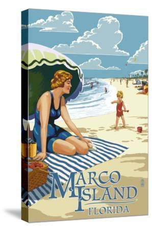 Marco Island, Florida - Woman on Beach-Lantern Press-Stretched Canvas Print
