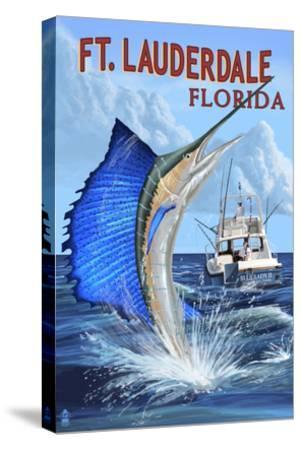 Ft. Lauderdale, Florida - Sailfish Scene-Lantern Press-Stretched Canvas Print