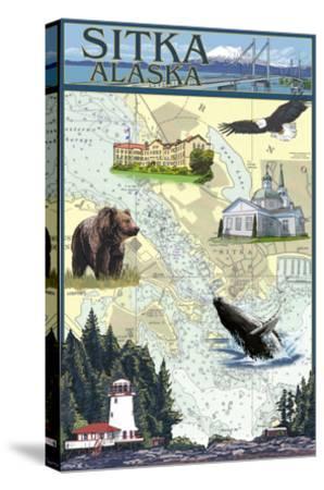 Sitka, Alaska - Nautical Chart-Lantern Press-Stretched Canvas Print