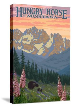 Hungry Horse, Montana - Bear Family and Spring Flowers-Lantern Press-Stretched Canvas Print