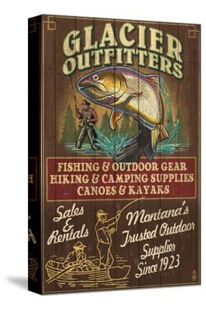 Glacier National Park - Trout Outfitters-Lantern Press-Stretched Canvas Print