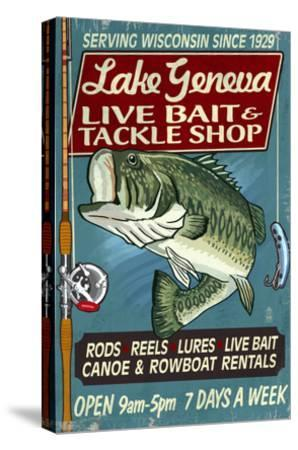 Lake Geneva, Wisconsin - Tackle Shop Bass-Lantern Press-Stretched Canvas Print