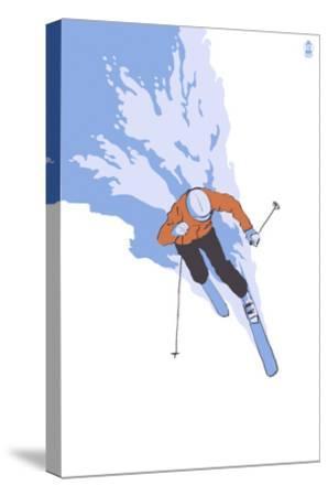 Downhill Skier Stylized - Male-Lantern Press-Stretched Canvas Print