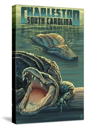 Charleston, South Carolina - Alligators Scene-Lantern Press-Stretched Canvas Print