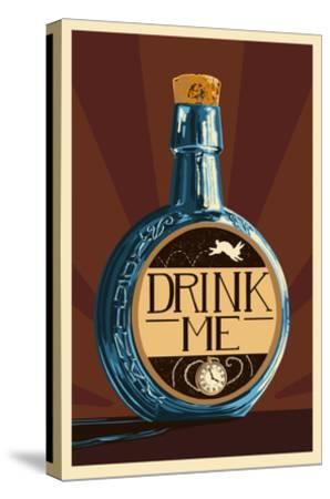 Drink Me Bottle-Lantern Press-Stretched Canvas Print