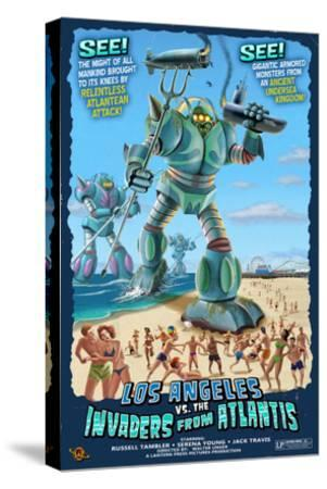 Los Angeles, California - Atlantean Invaders-Lantern Press-Stretched Canvas Print